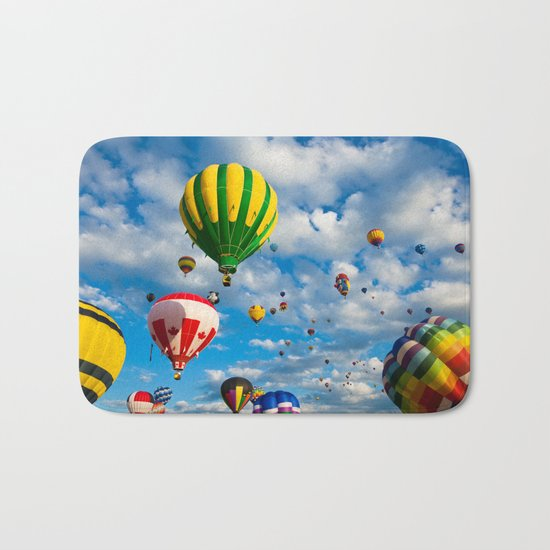 Vibrant Hot Air Balloons Bath Mat