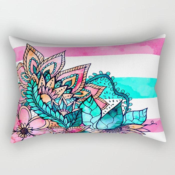 Floral watercolor modern pink teal stripes Rectangular Pillow