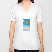 hot air balloons V-neck T-shirts featuring Three Hot Air Balloons by Shelley Chandelier