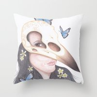 crow Throw Pillows featuring Crow by Drawings by LAM