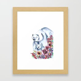 Polar Bears Floral Watercolor Painting Framed Art Print
