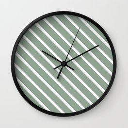 White Sage Diagonal Stripes Wall Clock
