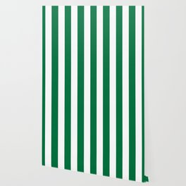 Dartmouth green - solid color - white vertical lines pattern Wallpaper