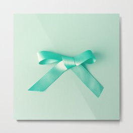 Turquoise bow Metal Print