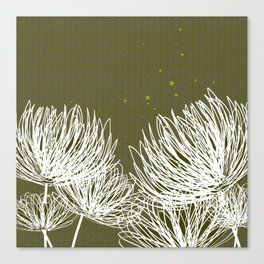 Olive Doodle Floral by Friztin Canvas Print