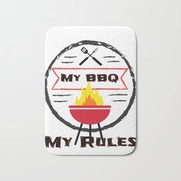 Grilling My BBQ My Rules Bar B Que Bath Mat