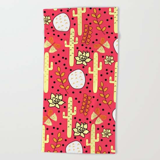 Cacti and butterflies in pink Beach Towel