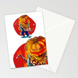 gang squad member pumpkin head with gun Stationery Cards