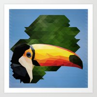 toucan Art Prints featuring toucan by gazonula
