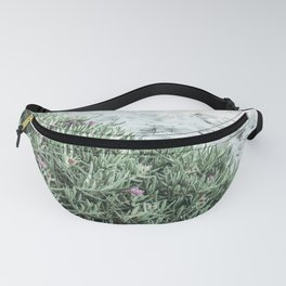 Calm beach - close up of sand and pink flowers / plant (pig face) Fanny Pack