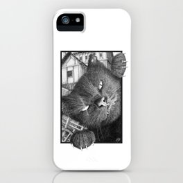 Malevolent One Eyed Black Cat in a Medieval Village iPhone Case