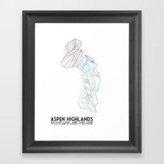 Aspen Highlands, CO - Minimalist Trail Map Framed Art Print