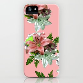 LILY PINK AND WHITE FLOWER iPhone Case