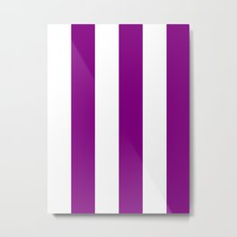 Wide Vertical Stripes - White and Purple Violet Metal Print
