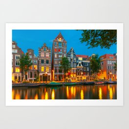 Amsterdam Canal With Dutch Houses at Night Art Print