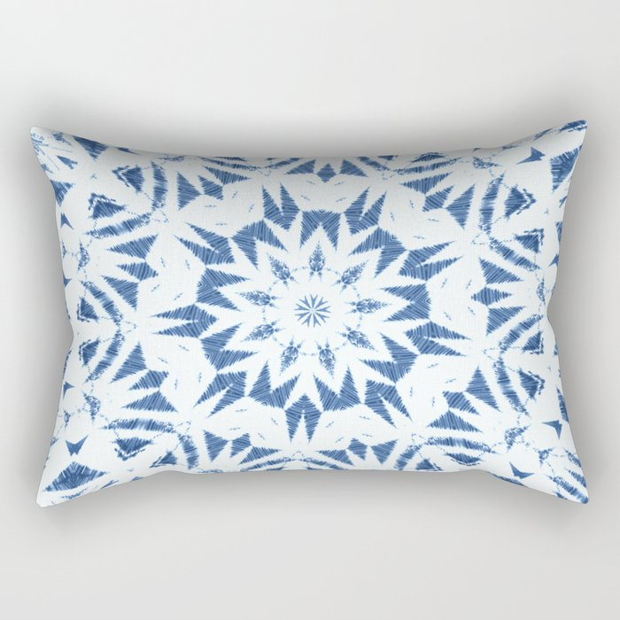 Snowflake Denim & White Rectangular Pillow