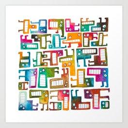 Tetris Monsters Art Print