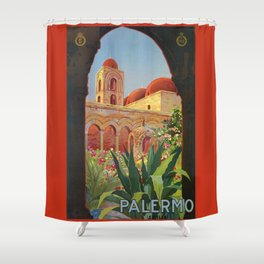 vintage 1920s Palermo Sicily Italian travel ad Shower Curtain