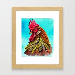 rooster in blues Framed Art Print