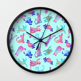 Rainbow Cats on Turquoise Wall Clock