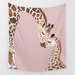 Giraffe mother and baby Wall Tapestry