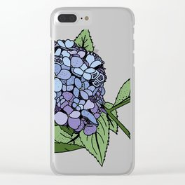 Hydrangea Blue Clear iPhone Case