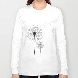 Black And White Dandelion Sketch Long Sleeve T-shirt