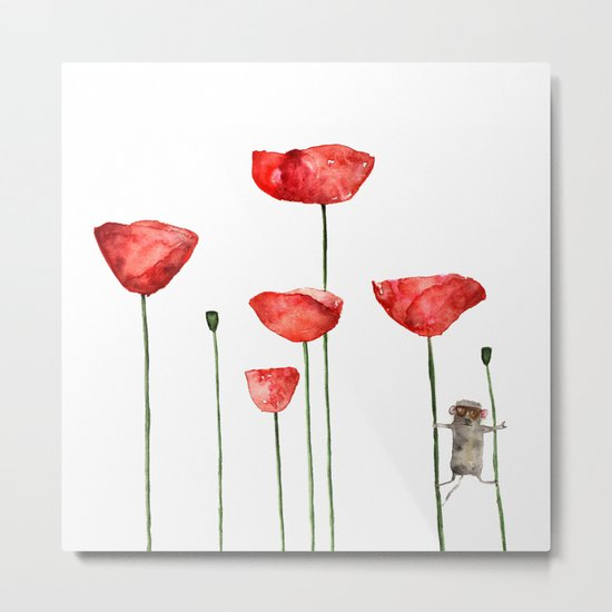 Mouse and poppies - Watercolor illustration Animal + Poppy Flower #Society6 Metal Print