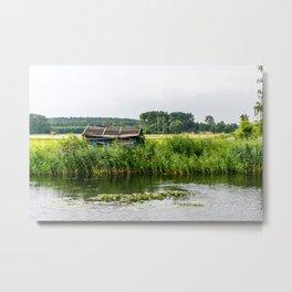 Boat house at river Metal Print