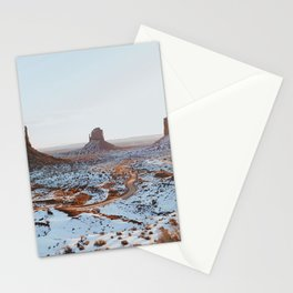 Arizona winter Monument Valley snow Colorado Plateau West Mitten Butte East Mitten Butte Merrick Butte winter landscape USA Stationery Cards