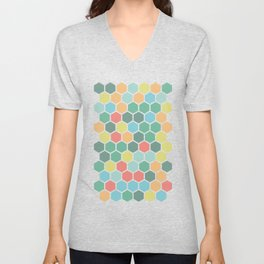 Texture hexagons - Spring's colors Unisex V-Neck