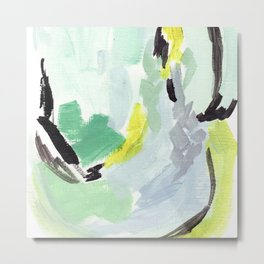 Twirl Green: Abstract Painting Metal Print