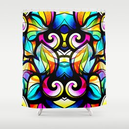 Colorful Abstract Stained Glass Design Shower Curtain