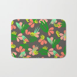Henri's Garden in gray // tropical flora pattern Bath Mat