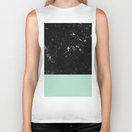 Pastel Mint Meets Black Marble #1 #decor #art #society6 Biker Tank