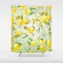 Watercolor lemons 7 Shower Curtain