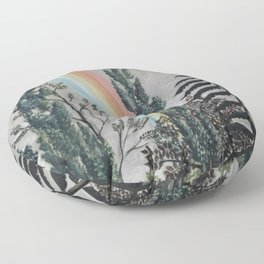 Stormy Sky with Rainbow and Foliage (Lake Daumesnil by Henri Rousseau circa 1898) Floor Pillow