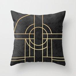Art Deco Black Marble Throw Pillow