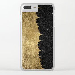 Faux Gold and Black Starry Night Brushstrokes Clear iPhone Case