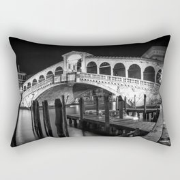 VENICE Rialto Bridge at Night | Monochrome Rectangular Pillow