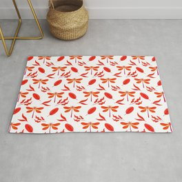 Pretty beautiful red dragonflies, leaves elegant classy stylish white nature spring pattern Rug
