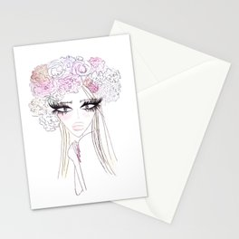Floral girl Portrait Stationery Cards