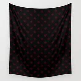 Burgundy Red on Black Snowflakes Wall Tapestry