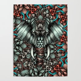 Elephant with flowers Poster