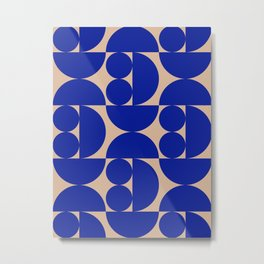 Grapes and apple slices (royal blue) Metal Print