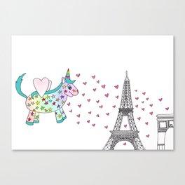 Rainbow the Unicorn in Paris Canvas Print
