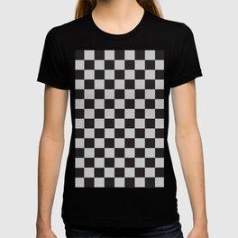 Checkered Pattern Black and Light Gray T-shirt