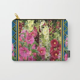 PINK HOLLYHOCKS & YELLOW  BUTTERFLIES TEAL Carry-All Pouch