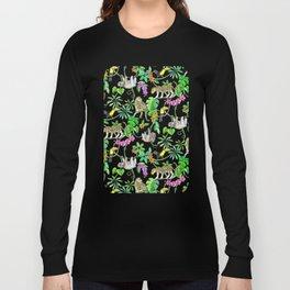 Rainforest Friends - watercolor animals on textured teal Long Sleeve T-shirt
