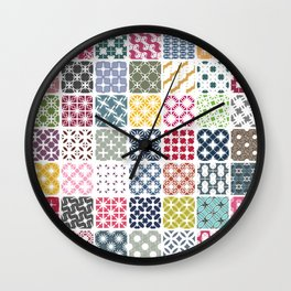 Colorful patchwork from geometric shapes Wall Clock